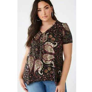 Forever 21 Paisley Print Tunic Top-Black (NWT) 2X